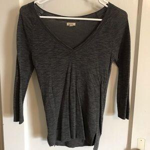 Sheer gray aerie v-neck sweater